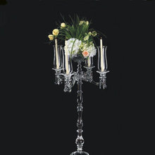 Wedding table candle candelabras tall cheap crystal clear candelabra