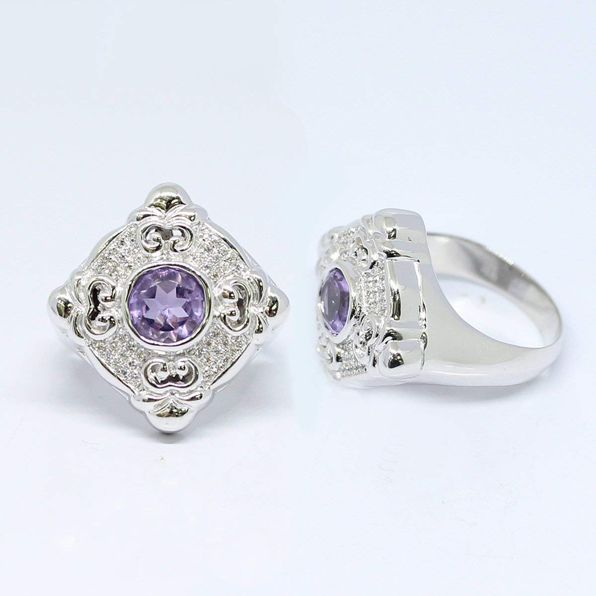 Bali Handmade sterling silver ring with genuine 6 * 6 mm amethyst stone and shiny white CZ, micro setting, perfect round-shape amethyst stone, silver ring with natural amethyst stone