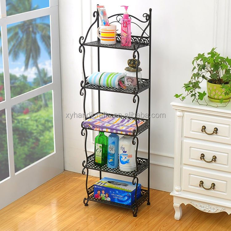 5 tiers Metal storage rack living room wire mesh storage shelving metal rack