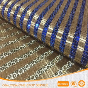 70% polyester 30% PET gold blue silver stripe sequin fabrics wholesale