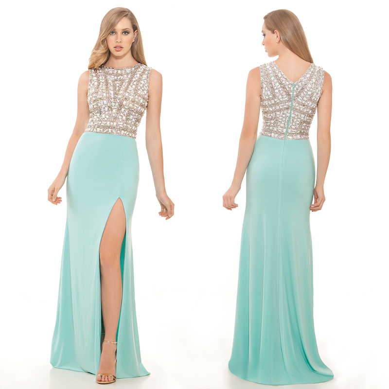 d338597c02c00 Get Quotations · Custom Made Mint Green Crystal Long Prom Dresses Sexy Slit  Side Plus Size Evening Formal Gown