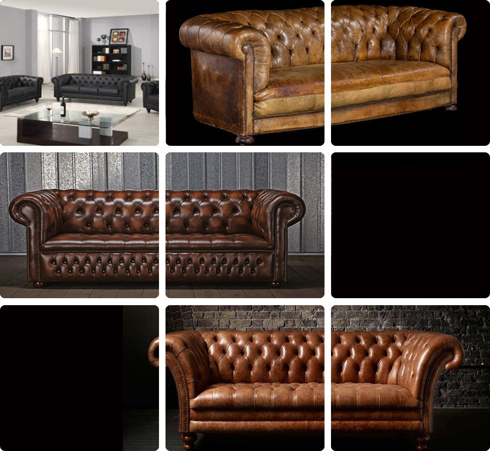 Classic High-end Antique Chesterfied Leather Sofa