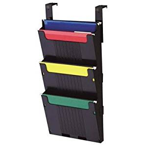Deflect-O Corporation Products - Hanging File System, 3 Slots, 12-5/8amp;quot;x3-7/8amp;quot;x25amp;quot;, Black - Sold as 1 EA - Unique top pocket has two levels for extra hanging files. System consists of one double-pocket, two add-a-pockets, two adjustable brackets and mounting hardware. Great
