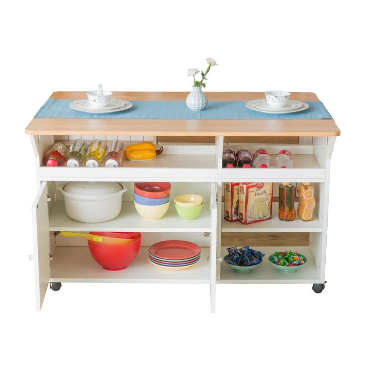Ruang Dapur Kecil Kayu Bergerak Meja Makan Set