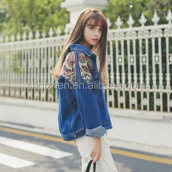Latest fashion denim jacket women long sleeve embroidered jeans coat