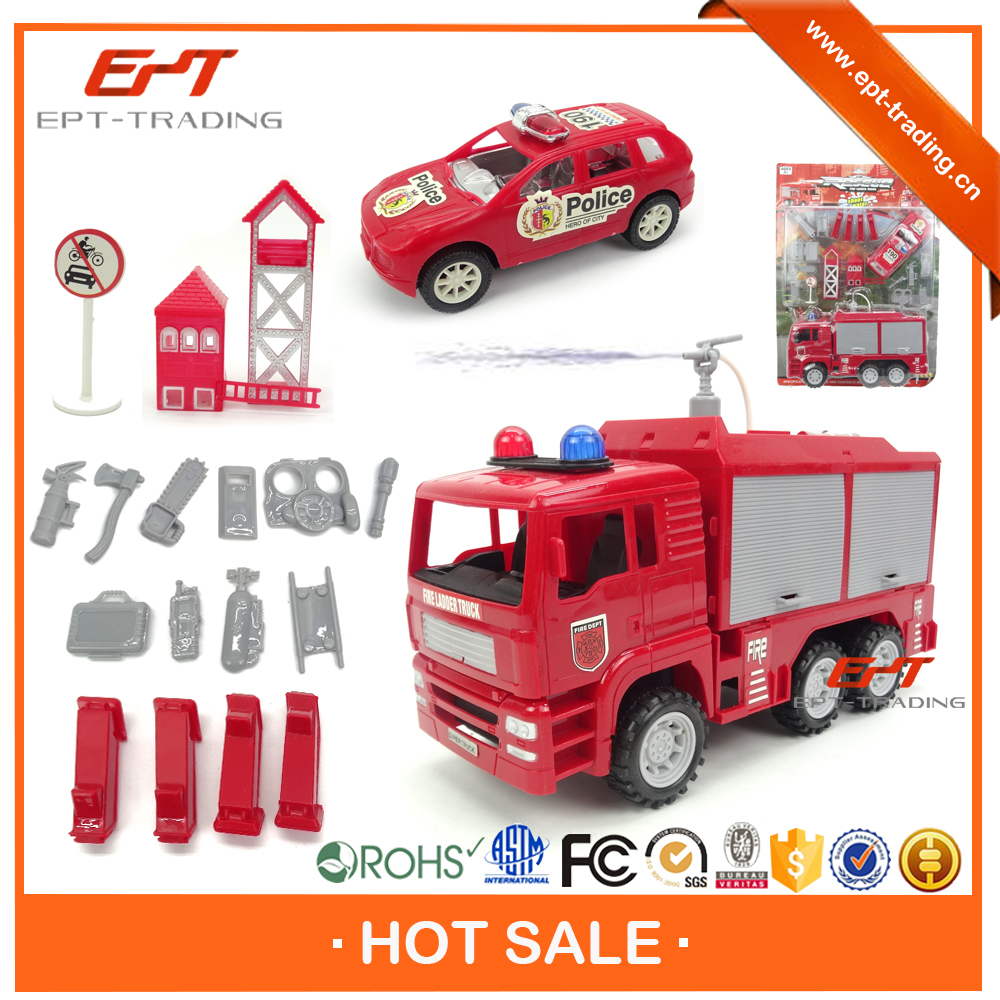 Hot selling kids friction mini fire truck toy with shooting water function