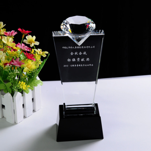 Wholesale New Design Diamond Trophy With Base Plaque K9 Crystal Trophy Award for Awards QY53
