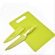 Promotion gift square shape thin plastic cutting board with knife set