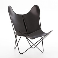 Modern black leather butterfly chair with metal iron frames
