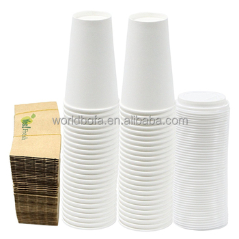 Disposable single-sided poly white takeaway coffee paper hot and cold cups