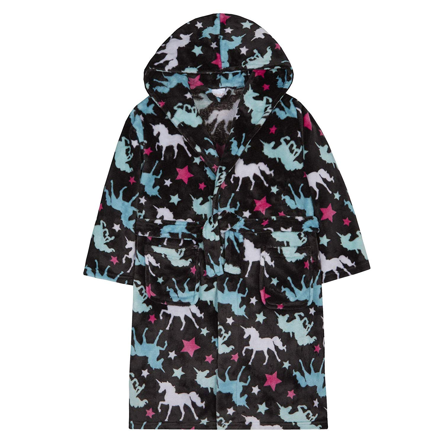 Get Quotations · Girls Unicorn Dressing Gown Robe Soft Coral Fleece Multi  Print Design 4a018587f