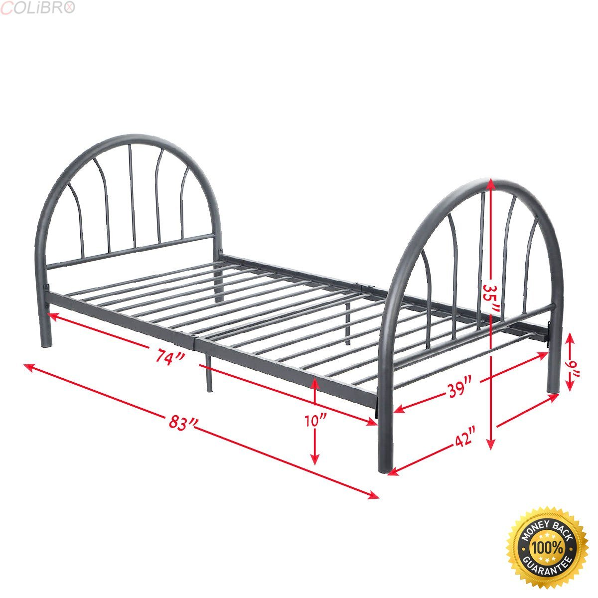 "COLIBROX--83""x42""x35"" Black Metal Bed Platform Frame Twin Size Bedroom Home Furniture New,metal bed frame queen,queen metal bed frame,Black Steel Bed Frame,bed frames full"