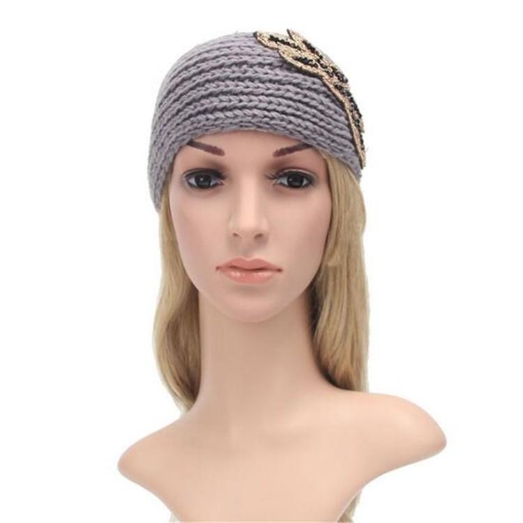 Women Head Wrap Ear Warmer Camellia Diamond Hair Accessories Hair Band Girl  Knitted Headband 386acf08b79