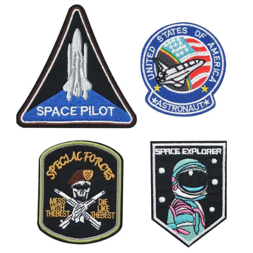 Iron on Patches, Space Series Assorted Size Iron Embroidery Applique Decoration DIY Patches for Clothing Jeans etc