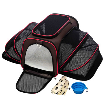 Travel Expandable Animal Dog Cages Bag House Heavy Duty Foldable Soft Sided Pet Carrier Airline Approved