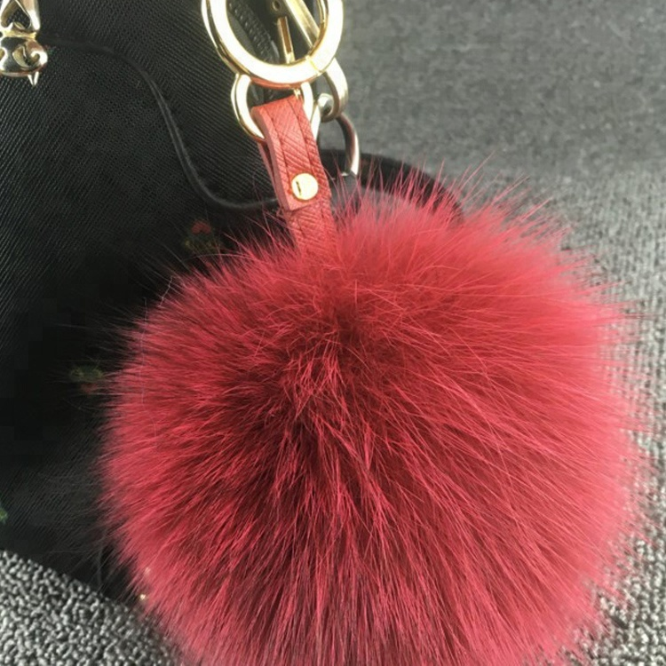 2019 new Fashion Color China factory direct sales 14-15cm real <strong>Fox</strong> <strong>Fur</strong> PomPom <strong>ball</strong> <strong>keychain</strong> for handbag