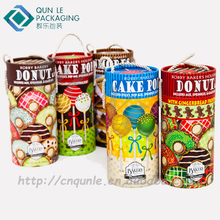 Custom Made Paper Cylinders Paper Cardboard Cookie Gift Box with Handles