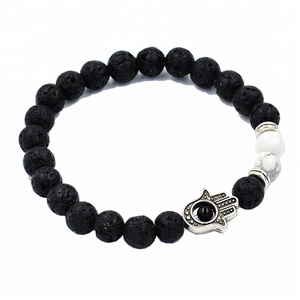 Hot Fashion Black Lava Mala Beads Bracelet White Bead With Silver Fatima Eye Bracelet Wholesale