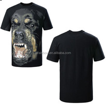 100% cotton black dog print man shirt custom t-shirt printed logo Custom made