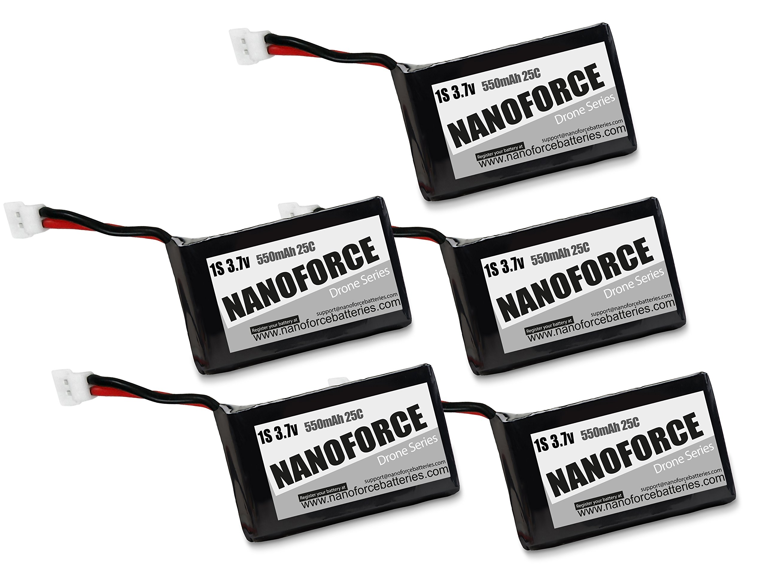 1S 3.7V Lipo 550mah 25C Batteries,Works with Syma X5C, X5SC, X5SW, X5A, Cheerson CX-30W, M68, M68R Quadcopter Drones. (5-Pack)