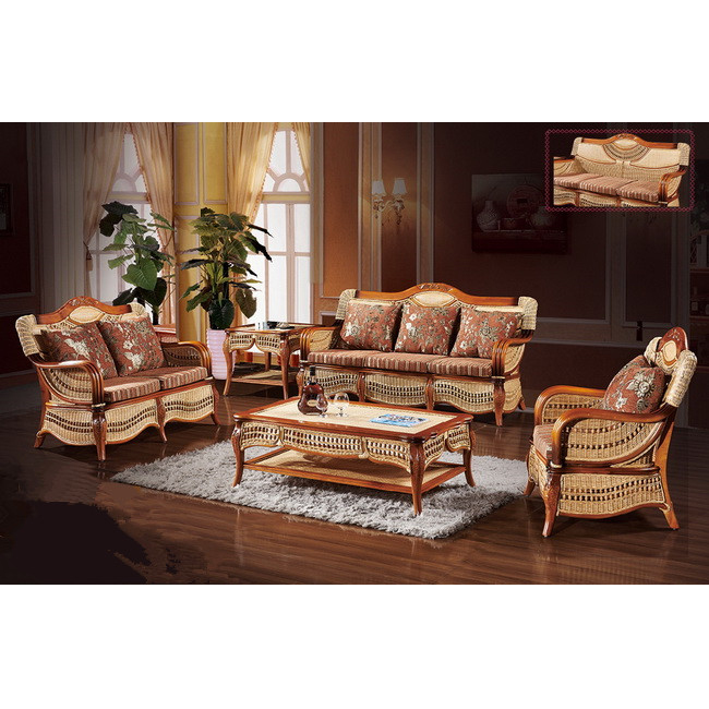 Rattan Sofa Set Living Room Furniture Wicker Home Cane Latest Design 7 Seater 020set
