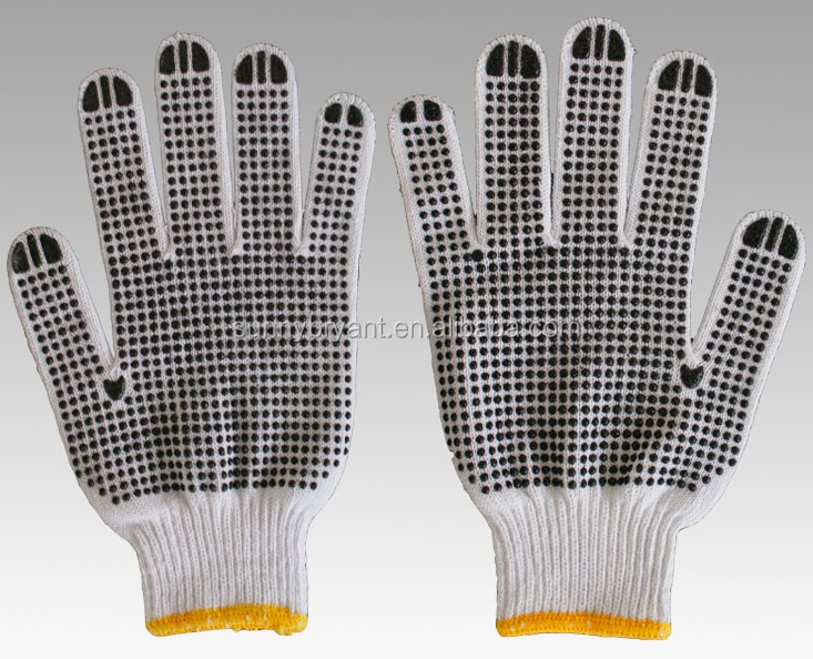 Cheap Knitted Workshop Cotton Gloves with PVC Dots