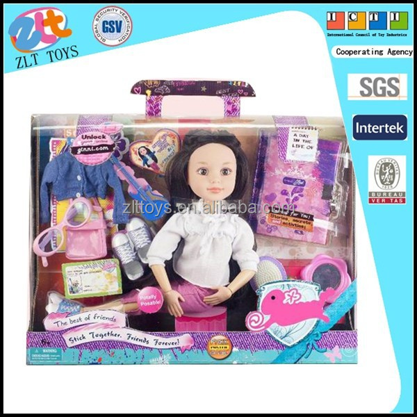 2015 new products Ginny 18 inch barbie toys with diary books (second mix)