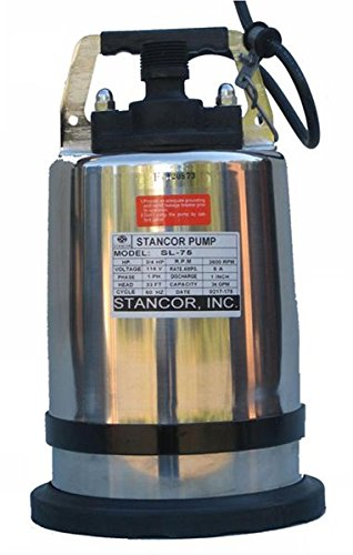 """STANCOR SSD-75/115/1 Avenger Series Submersible Dewatering (Center Line Discharge) Pump Model, 115V, 1 Phase, 3/4 hp, 2"""" Discharge, 50' Cable"""