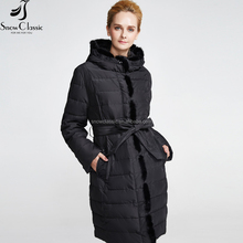 Winter wholes outlet causal outdoor thin padded jacket women black hoodie fur hooded down coat