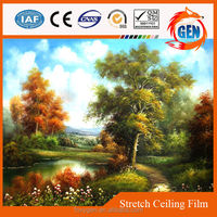 Oil painting middle east printed PVC stretch ceiling film 2.35 meters to 3.2 meters width for hotel