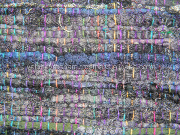 Recycled Silk Sari seashell&slate grey chindi