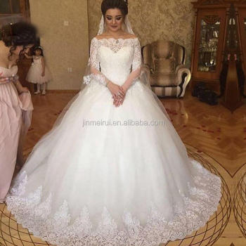 a0c74685438 Amazing Saudi Arabic Ball Gown Wedding Dresses Off Shoulders See Through  Long Sleeves Lace Appliques Vestios
