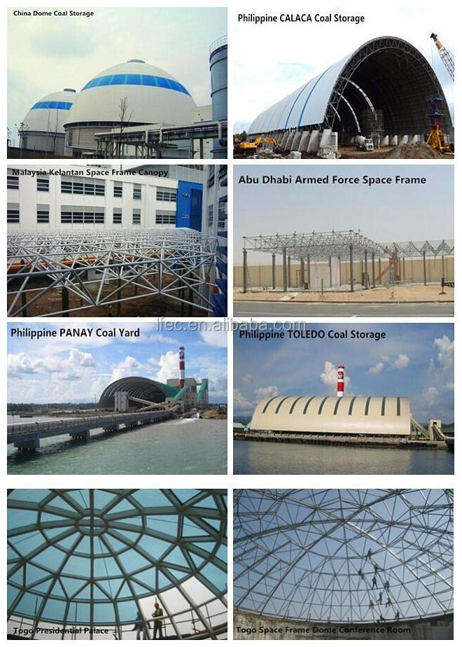 Low price steel space frame structure for coal storage shed