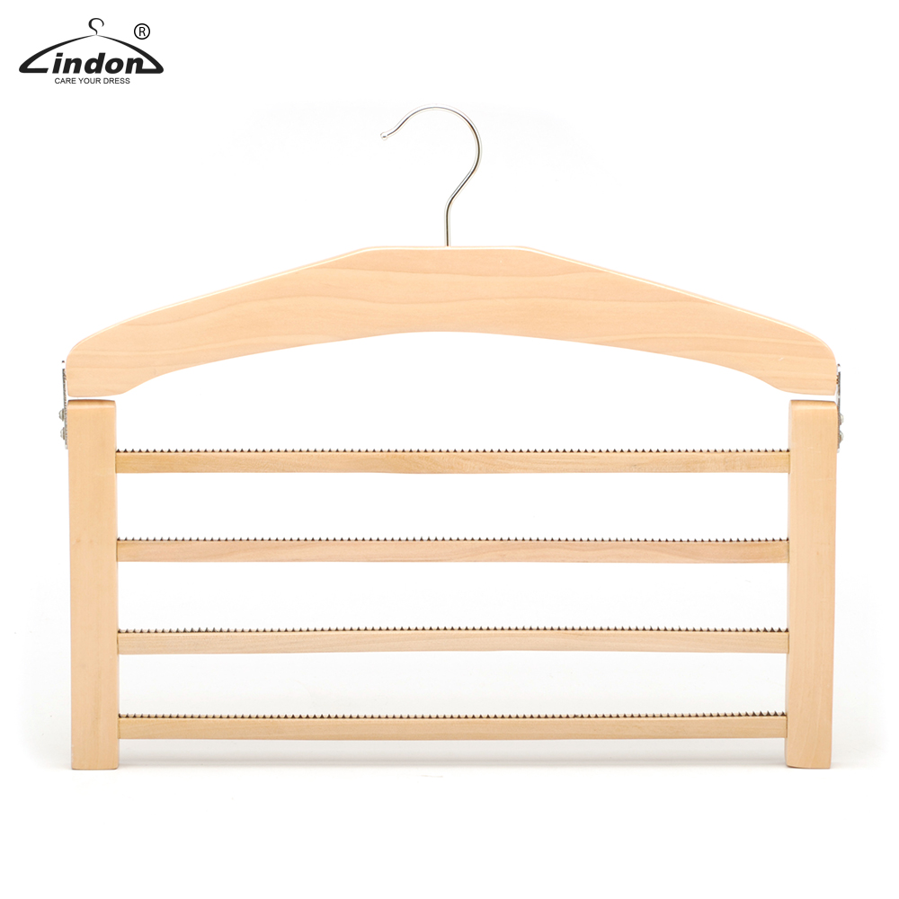Multifunctionele 4 Bars Houten Kledingrek Multi Layer Antislip Houten Broek Hanger
