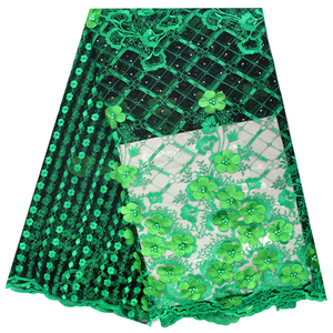 New 3d flower embroidered african lace fabric with stones