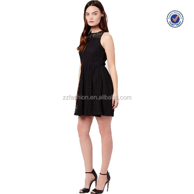 New arrival hot selling trendy elegant sleeveless empire waist pleated fit and flare black lace women dress 2016