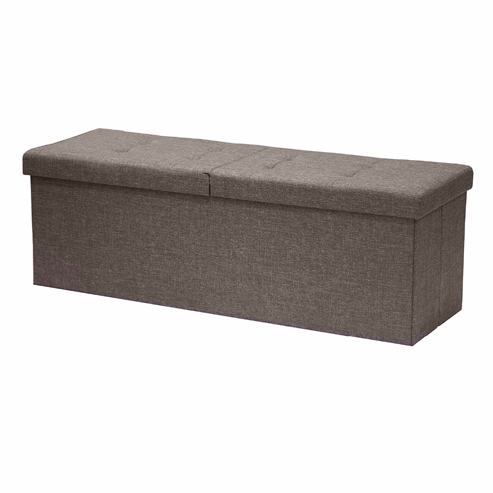 "Otto & Ben 45"" SMART LIFT TOP Ottoman Bench - Brown / Folding Storage Ottoman / Stool / Linen Fabric"