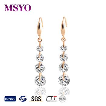 Msyo Brand Diamond Jewellery Pearl Drop Beautiful Earring Simple Gold Plated Hoop Hanging Designs