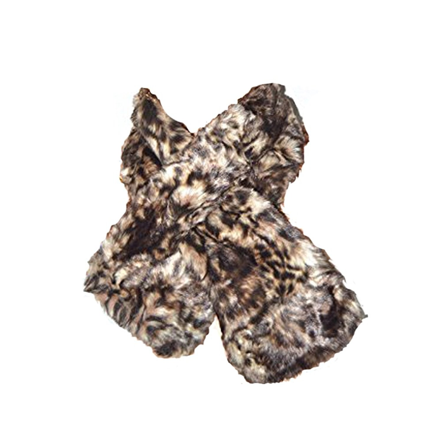 New Women Winter Warm Shrug Faux Rabbit Fur Fluffy Super Soft Animal print Faux Fur Infinity Scarf Loop, Tiger - Brown
