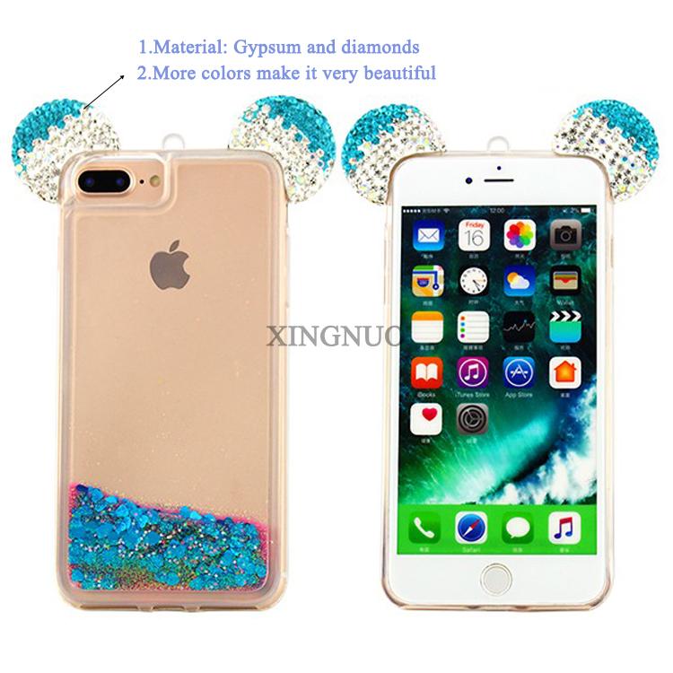 new style 1f300 f1797 3d Mickey Mouse Ear Quicksand Phone Case,Tpu Liquid Diamond Bling Glitter  Mickey Ears Rhinestone Cover For Iphone 7 - Buy Diamond Bling Glitter  Mickey ...