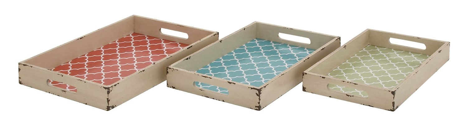 Plutus Brands Contemporary Styled Attractive Wood Vinyl Tray