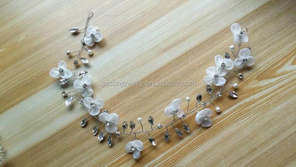 tela flor perla mujeres metal diademas - Diademas De Tela