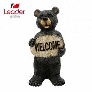 New Arrival Resin Black Bear garden Statues for outdoor decorations