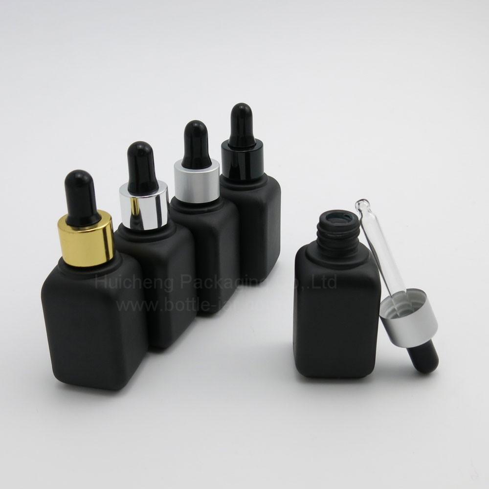 Fashion Design 30ml Black Square Glass Cosmetic Serum Dropper ...