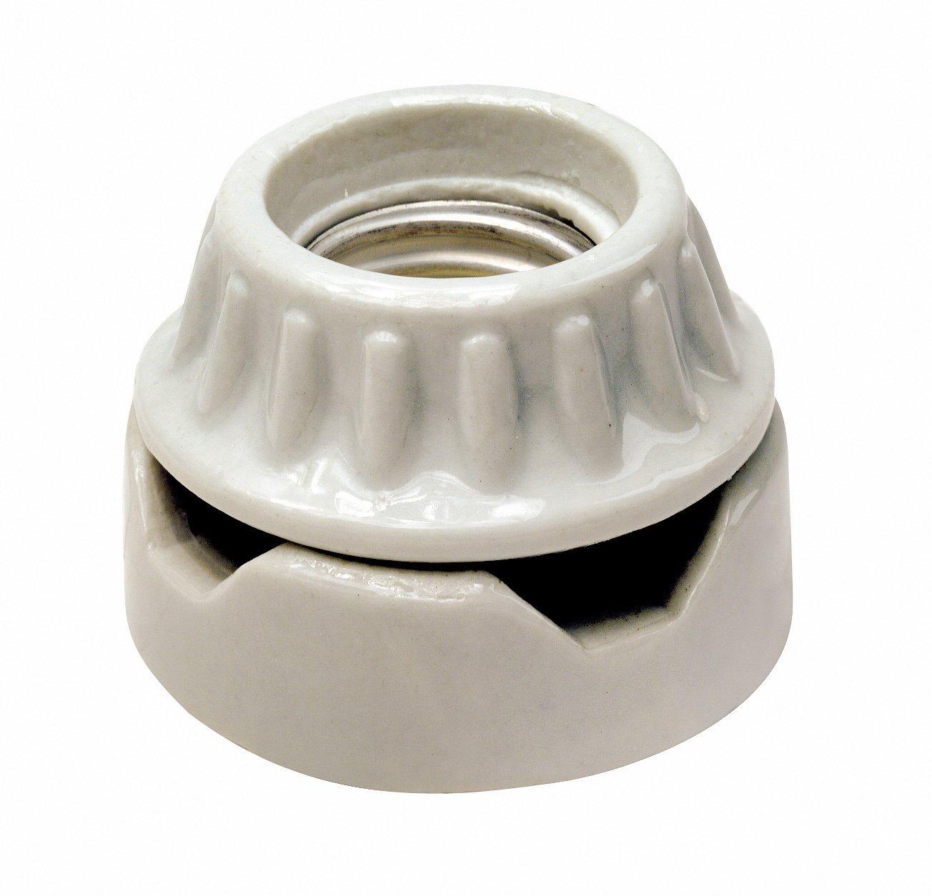 Leviton 9880 Medium Base, Two-Piece, Keyless, Incandescent, Unglazed Porcelain Lampholder, Surface Mount Low, Single Circuit, Back Wired, White