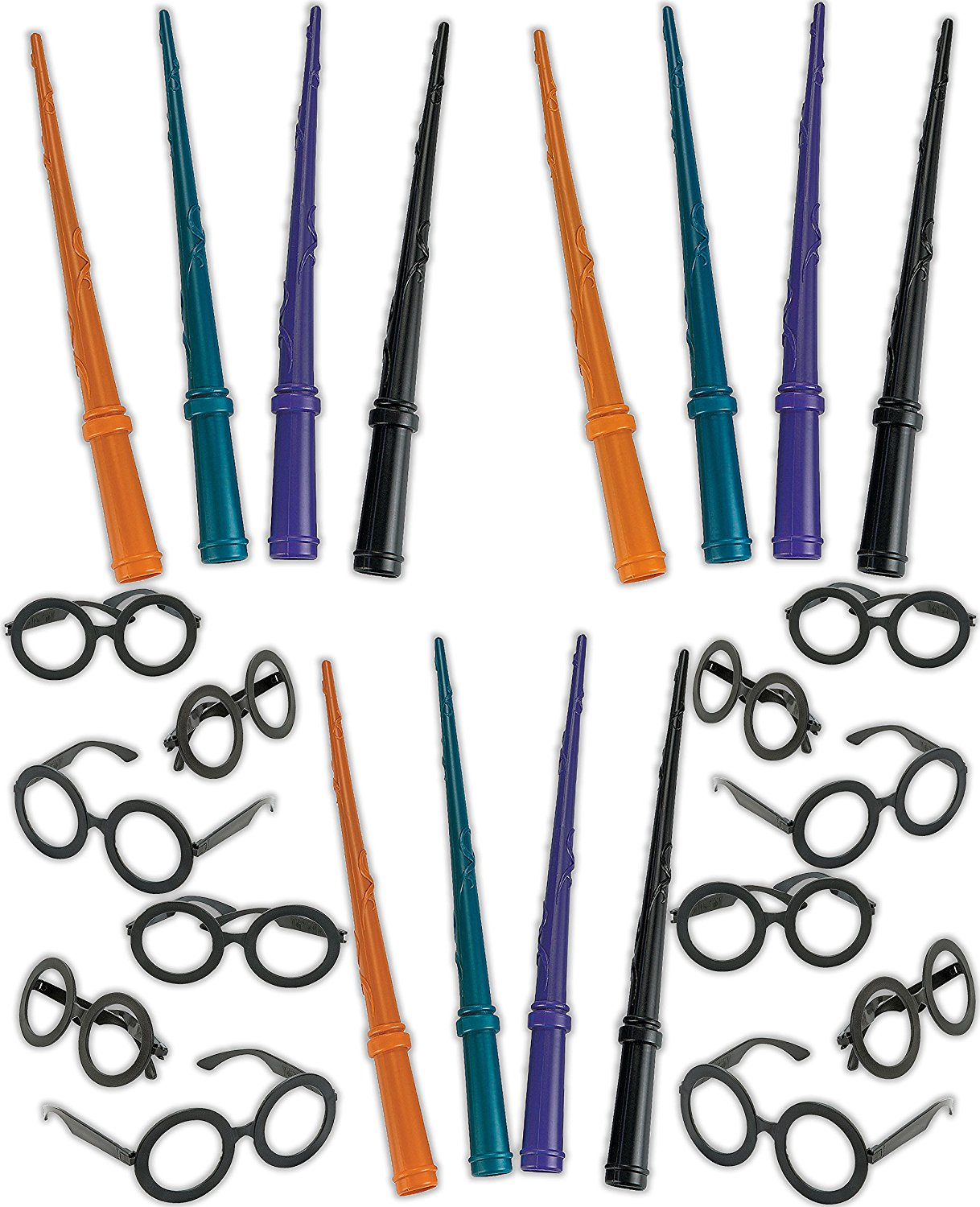 4E's Novelty Wizard Party Favors Set, Wand and Glasses, 12 Plastic Wizard Wands, 12 Wizard Glasses, Wizard Party Supplies