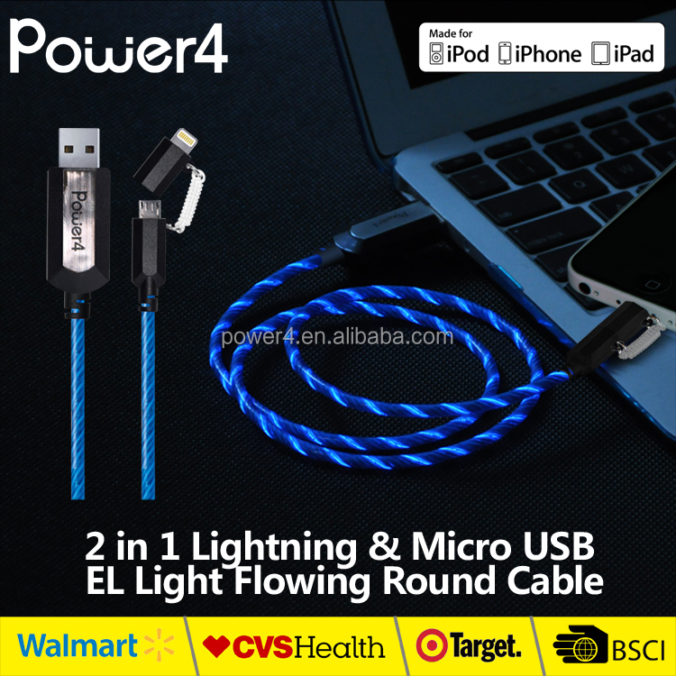 2 in 1 mfi certified micro usb to 8 pin tip connectors illumination cable for iPhone and Smartphone