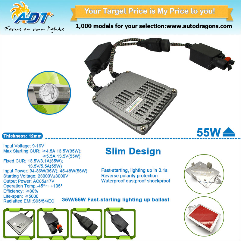 2019 New strongest fast start 3in1 canbus function ballast With EMC Filter 55w 35w HID slim xenon ballast