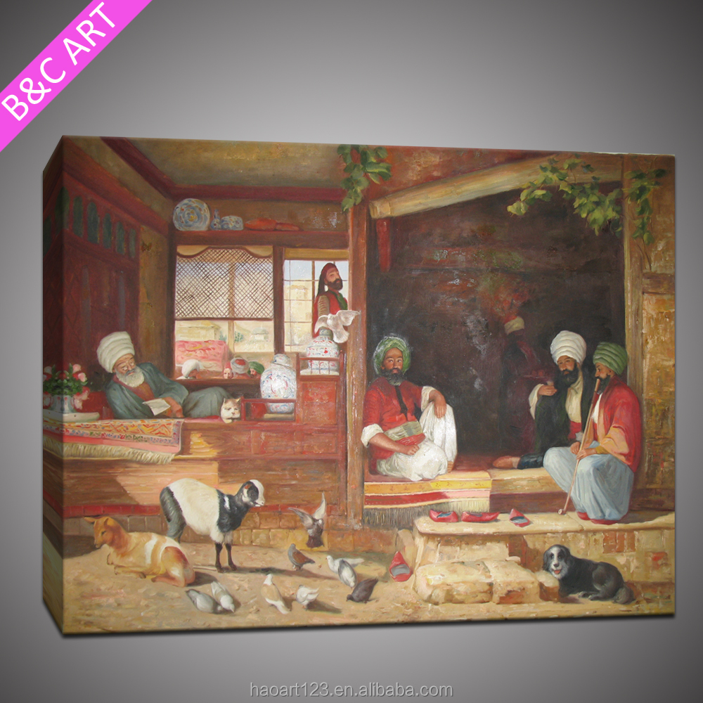 Modern abstract human figureanimal village scenery oil painting on cotton fabric