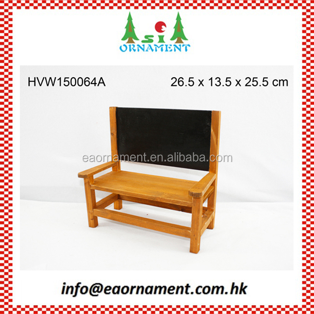 Wooden mini bench with black board for home decorating